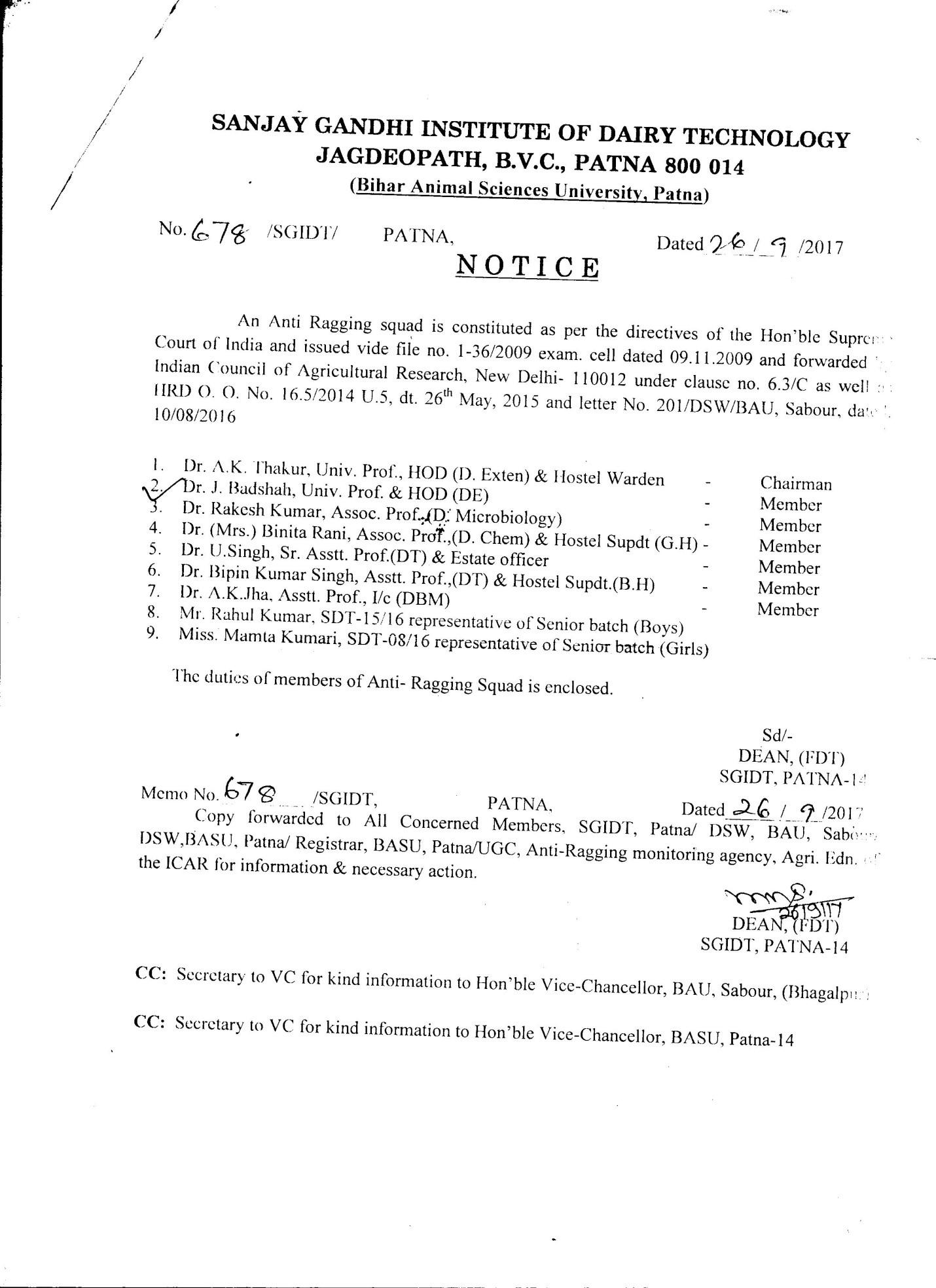 Sanjay Gandhi Institute of Dairy Technology (SGIDT) – Bihar Animal